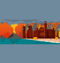 Natural disaster volcano eruption city beach vector