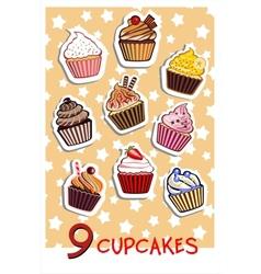 Nine delicious colorful cupcakes vector