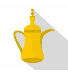 Oriental teapot icon flat style vector