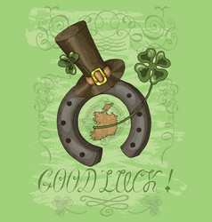 Patricks day card with horseshoe and text vector