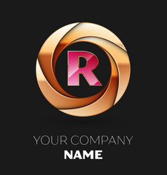pink letter r logo symbol in golden circle shape vector image