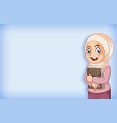 Plain background with muslim girl holding big book vector