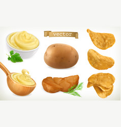 Potato mash and chips vegetable 3d icon set vector