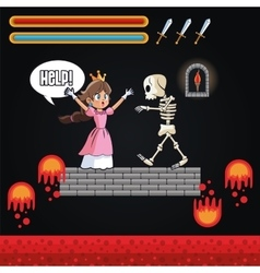 Princess skull and videogame design vector