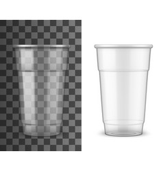 realistic plastic cup drink disposable package vector image