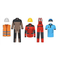 Realistic uniform workwear clothes mockup vector