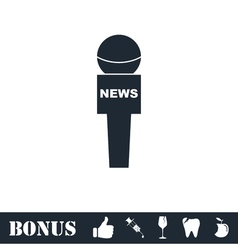 Reporter microphone icon flat vector image