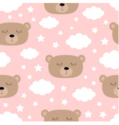 seamless pattern sleeping bear face cloud in the vector image