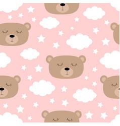 Seamless pattern sleeping bear face cloud vector