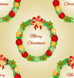 Seamless texture merry christmas wreath vector