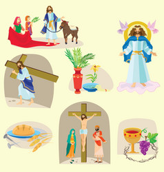 Set for christianity holy week before easter lent vector