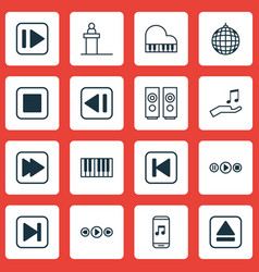 Set of 16 multimedia icons includes run song back vector
