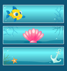 Set of nautical banner templates with underwater vector