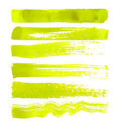 set of yellow brush strokes vector image