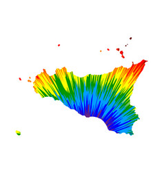 Sicily - map is designed rainbow abstract vector