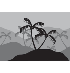 Silhouettes of coconut tree on the mountain vector