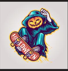 skeleton skateboards halloween scary vector image