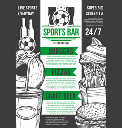 soccer sport bar football beer pub menu vector image