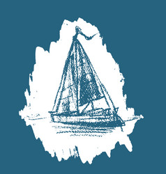 stylized sailboat floats on the water vector image