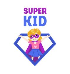 Super kid banner cute little girl in superhero vector