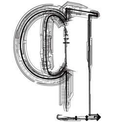 Technical typography Letter q vector image