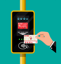 Terminal and passenger transport card in hand vector