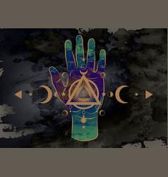 third eye hand esoteric spiritual sacred icon vector image