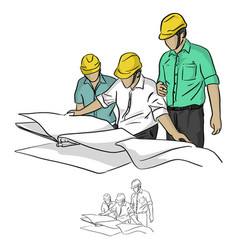 three construction engineer looking at blueprint vector image