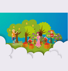 three women harvesting in fruit orchard flat vector image