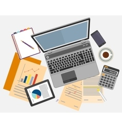 Top view of workplace with documents and laptop vector