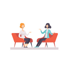 Two women talking in a tv studio television vector