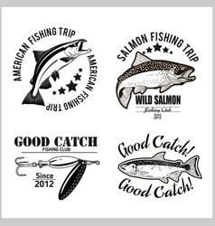 Vintage salmon fishing emblem label and design vector