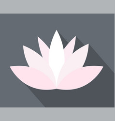 White and pink lotus flower icon simple flat on vector