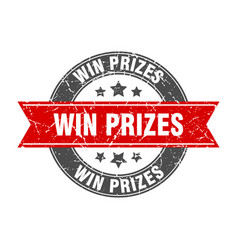 Win prizes round stamp with red ribbon win prizes vector