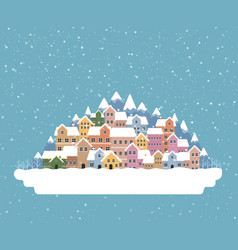 winter town flat style with snow falling and vector image