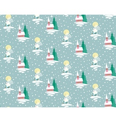 Xmas house pattern vector image