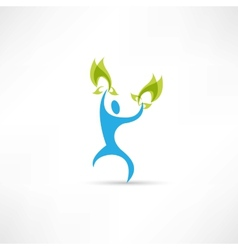 blue people with leaves icon vector image