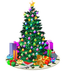 Christmas Tree with Presents vector image vector image