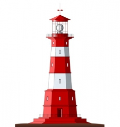 detailed lighthouse isolated on white vector image vector image