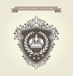 family coat of arms - heraldic shield with crown a vector image vector image