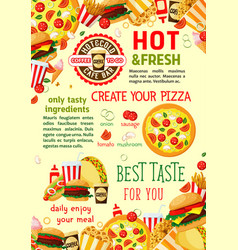 fast food restaurant snacks poster vector image vector image