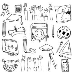 Hand draw doodles school education vector image vector image