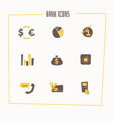 set of banking icons in cartoon style vector image