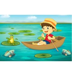Boy in boat vector image vector image