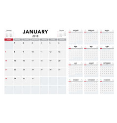 Calendar 2018 template design vector