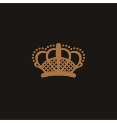 Crown logo black and beige style vector image