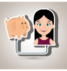 people with woman with piggy isolated icon design vector image