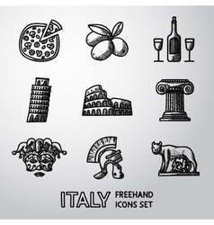 Set of Italy freehand icons - pizza olives wine vector image