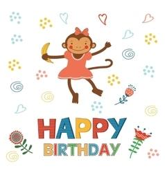 Stylish happy birthday card with cute monkey vector