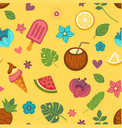 summer seamless pattern with seasonal food and vector image